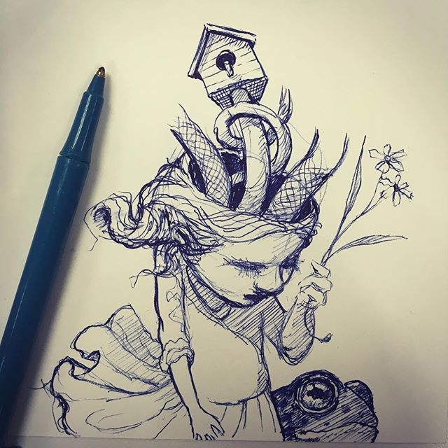 I don't know if it is the cold medicine or not but my doodles today have been stranger than normal. 😳 - #doodleduesday  #ballpointpen #doodle #drawing  #newcontemporary #newcontemporaryart #lowbrow #lowbrowart #popsurreal #popsurrealism #instadoodle #beautifulbizarre #instaart #thomasascott