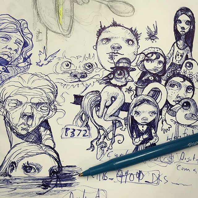 More of the doodles that accumulated yesterday on a scrap piece of paper.___✍ -  #ballpointpen #doodle #drawing  #newcontemporary #penfreaks #newcontemporaryart #lowbrow #lowbrowart #popsurreal #popsurrealism #instadoodle #instaart #thomasascott