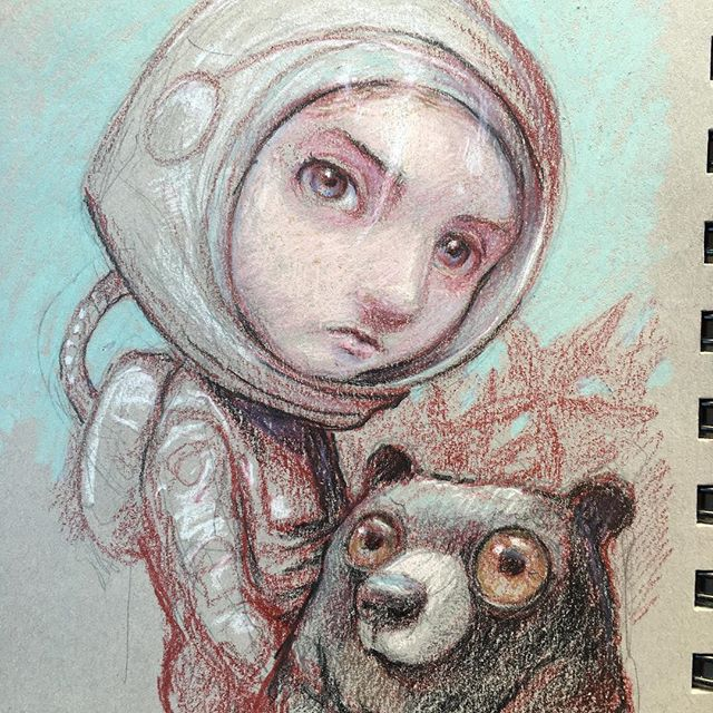 Playing around with doing the initial pass with Tuscan red. -  #sketching #drawing #prismacolor  #fabercastell #pencildrawing #pencilart #newcontemporary #newcontemporaryart #lowbrow #lowbrowart #popsurreal #popsurrealism #instaart #bigeyeart @beautifulbizarremagazine  #beautifulbizarre #spacegirl #astronaut #blackbear #thomasascott
