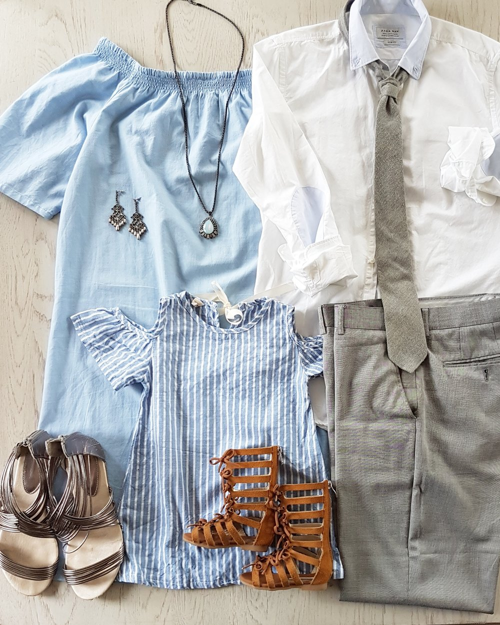 best family photo neutral grey and blue outfit ideas