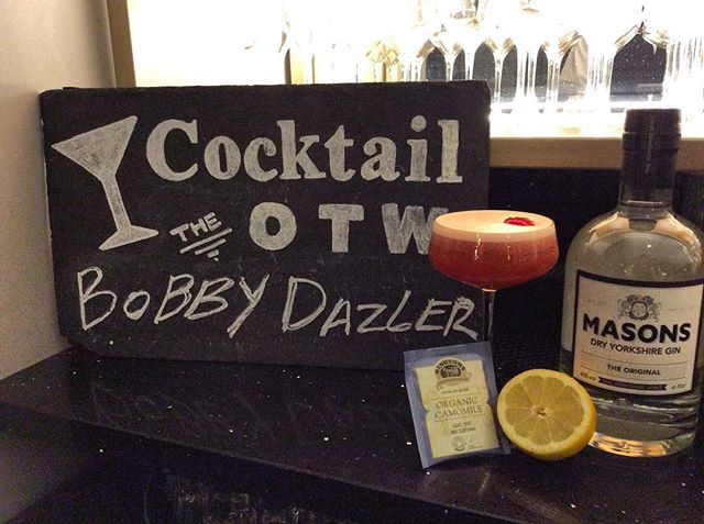 Staying in the 'spirit' of our Gin Of The Month, #masonsyorkshiregin... We are delighted to have this weeks cocktail of the week come from our very own mixologist Ben Bradbury with his creation named 'The Bobby Dazzler'! With a mixture of raspberry, camomile, lemon sherbert and of course Masons gin, it has become a very popular drink with our guests!  35ml Masons Gin 35ml Pineapple 25ml Camomile Tea 10ml Lemon Sherbert 10ml Gomme 5ml Chambord