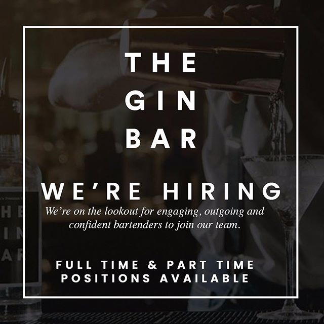 WE'RE HIRING! An exciting opportunity for an experienced Bar tender to join our growing team in The Gin Bar at The Crowne Plaza, Stephenson Quarter.  We're looking for someone who is naturally passionate about creating a great hospitality environment that delivers fantastic customer service.  Interested? Apply Now; http://bit.ly/2SvB4k3