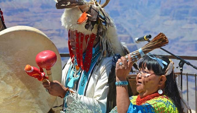 Members of the Hualapai tribe will greet you at Grand Canyon West