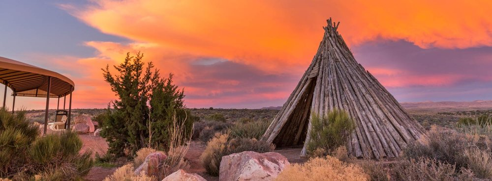 Tepee standing at Grand Canyon West: Treat the earth well. It was not given to you by your parents, it was loaned to you by your children - Ancient Indian Proverb