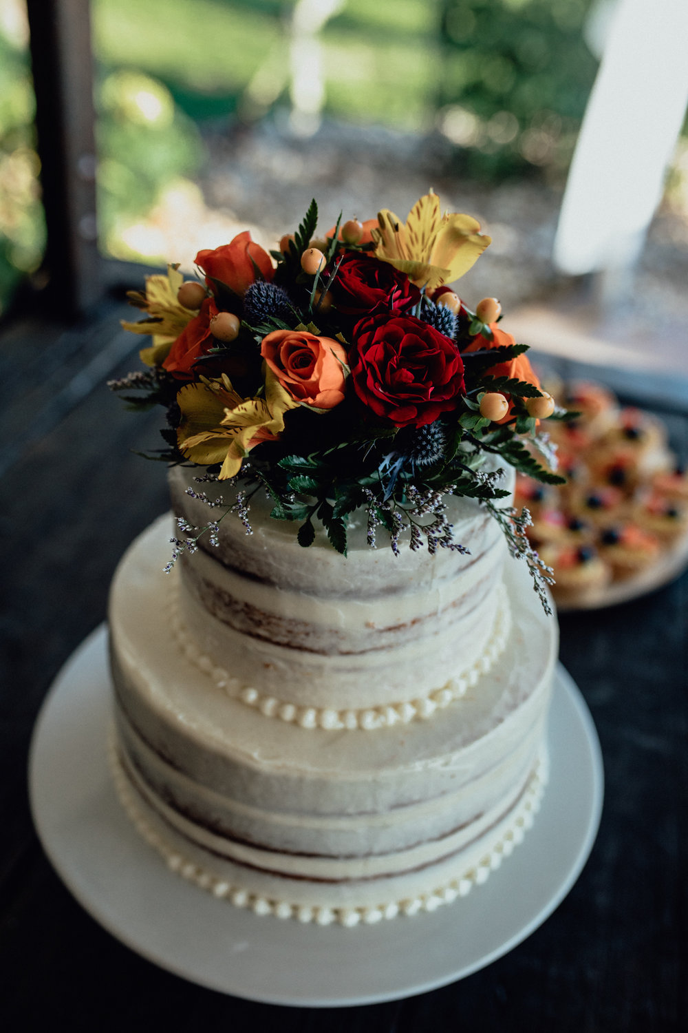 close up of cake with flowers