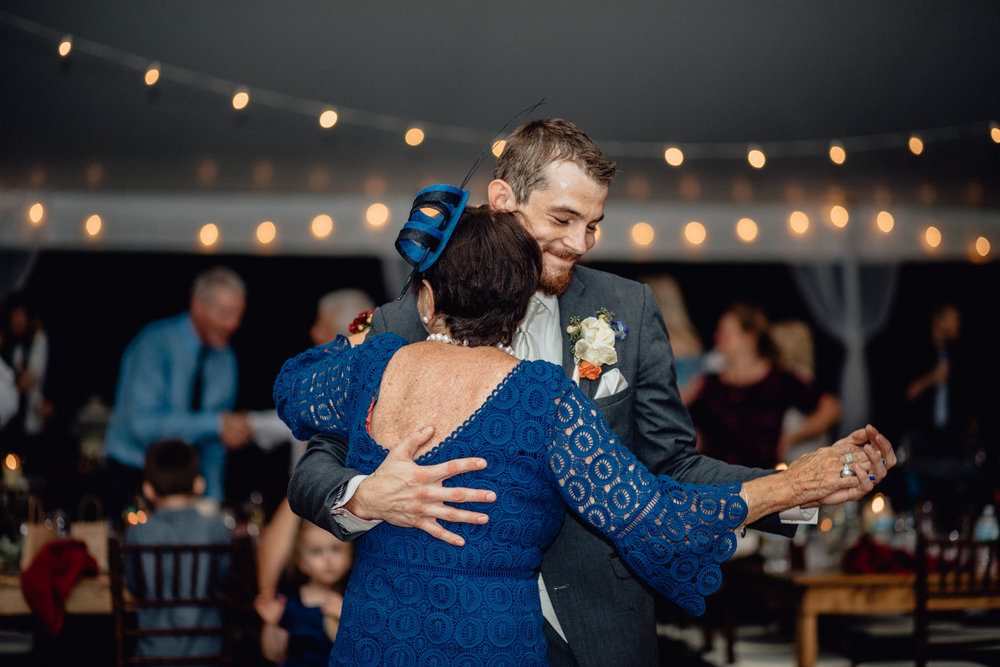 grandma groom dance at reception at oak hill weddings