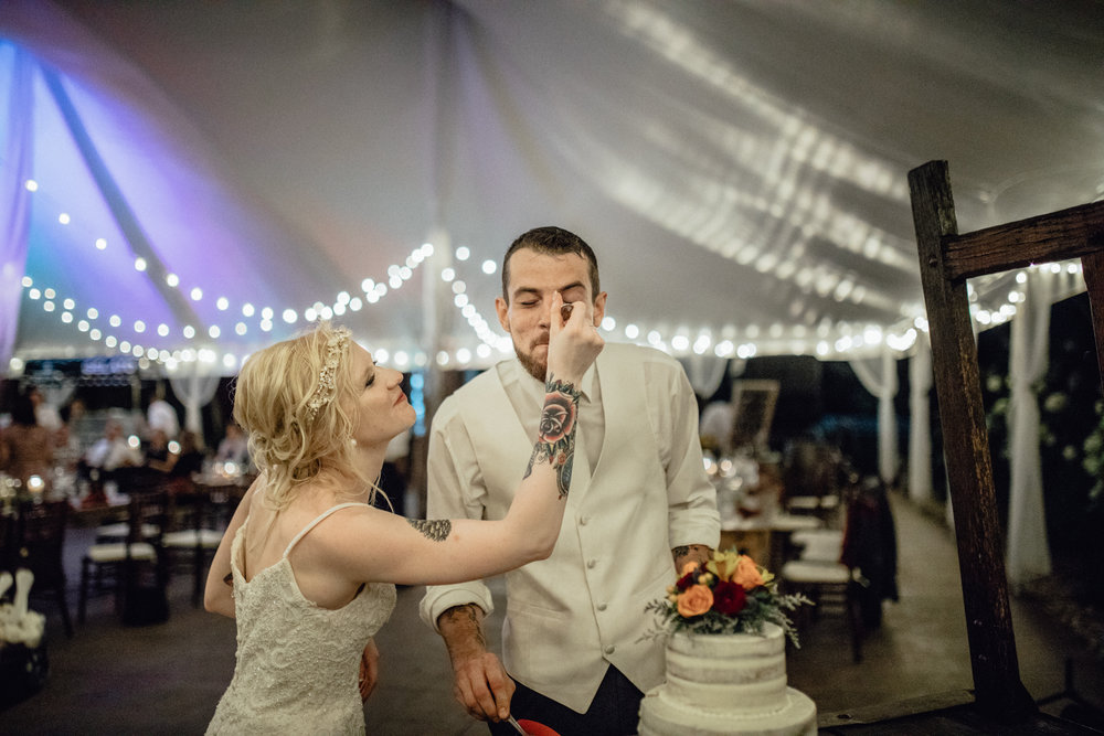 bride feeding groom cake at oak hill weddings reception