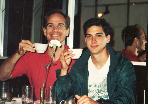 "Blake and Aggie Corps cadet Chris Segrest in Leningrad in 1991 when Gorbachev was kidnapped. They are raising their pinkies in honor of ""tea-sips"" from texas university (t.u.) The Navigator Aggies were very involved in the first years of the Purcell's ministry in the Soviet Union. Chris is now the head of the Navigator ministry at that same t.u. and Zachary Purcell was in his ministry (comic irony)."