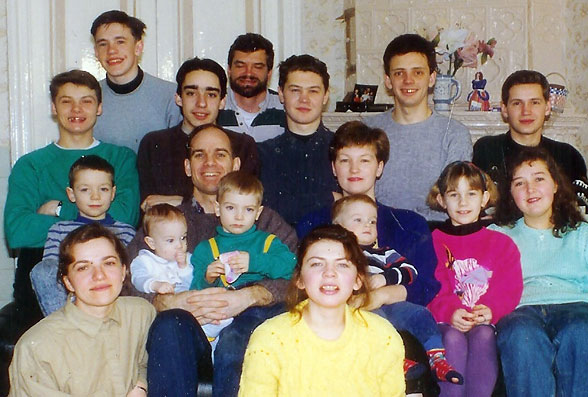 Some of the Navigator student leaders with the Purcell's in St. Petersburg in 1993. Alexander Firsanov, second from right in back row, was one of the first elders of the Reformed Presbyterian Church of St. Pete, and is a ruling elder today. He and his wife Natasha met in the Purcell's Bible study and have four children.