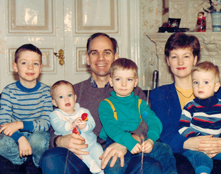 Blake and Cathy Purcell moved to Leningrad USSR to open the Navigator ministry in that country in October of 1990.  Here they are pictured (in 1993) with their children in the apartment they bought and still own