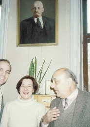In May of 1990, Blake Purcell traveled to Leningrad to interview at the university. Above he is pictured with his interpreter and the head of the College of Humanities. The Dean was saying how embarrassed he was that Lenin's picture was everywhere.