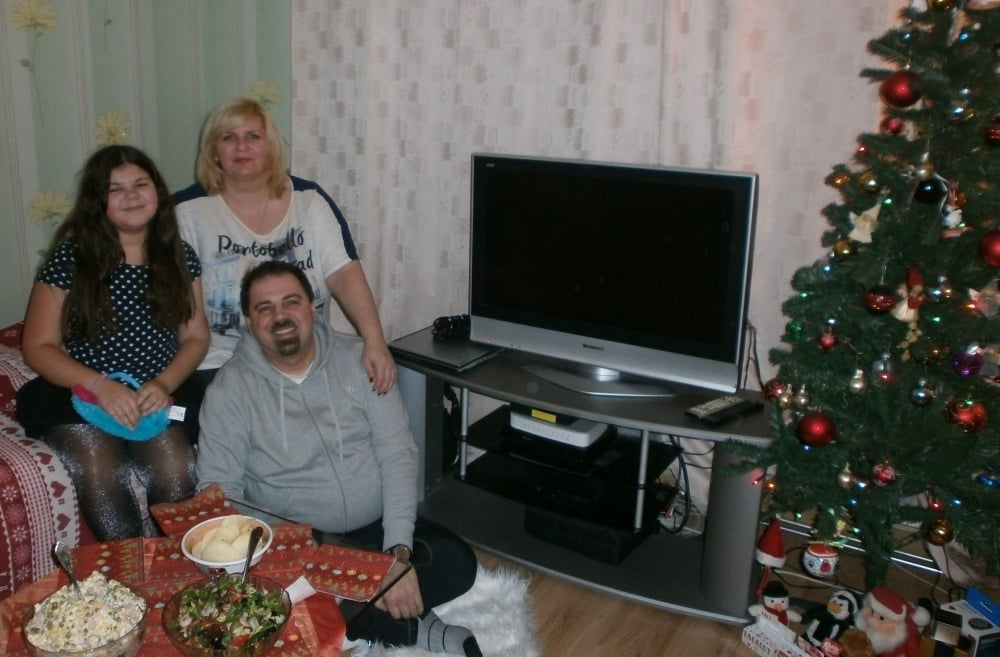 The Anichkin family at home. I am with my wife Olga and daughter Kate.