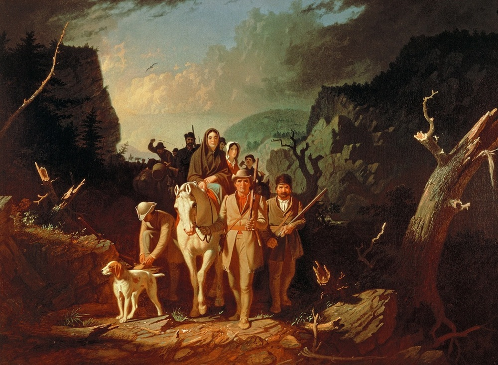 Daniel Boone escorting settlers through the Cumberland Gap, by George Caleb Bingham (1811-1879) embodies some of the essence of America the Beautiful.