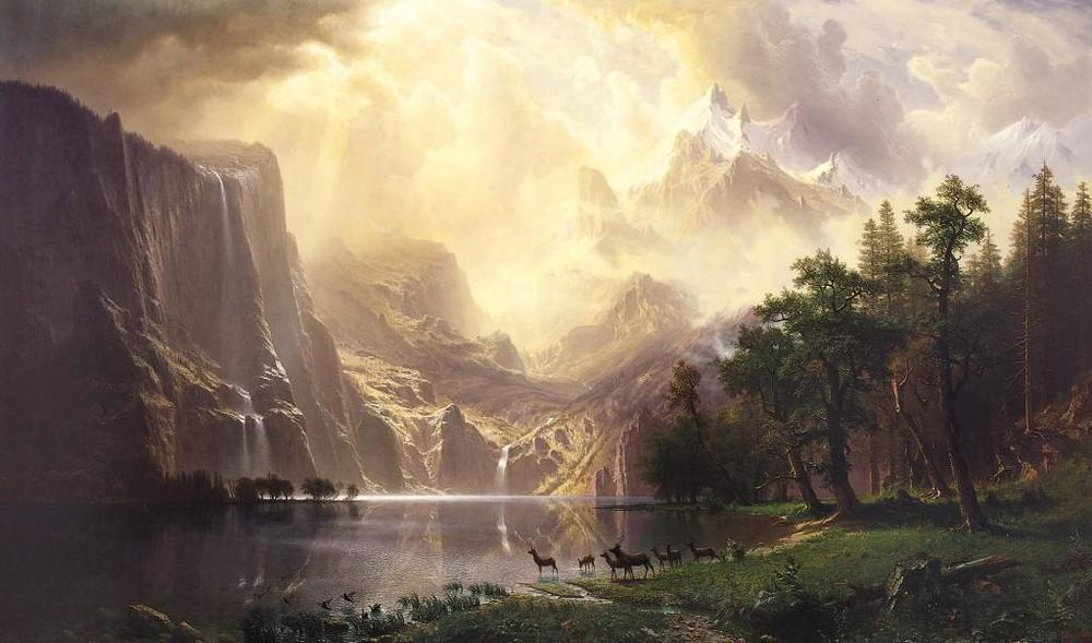 Albert Bierstadt,  Among the Sierra Nevada Mountains ,  California,  1868 captures more dramatically the landscape that Catherine Bates praises in  America the Beautiful.