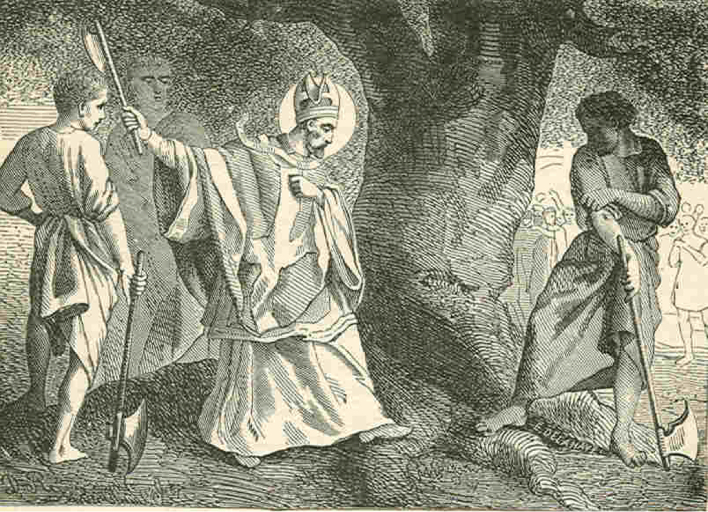 Saint Boniface chopping down Thor's Oak, 723 AD