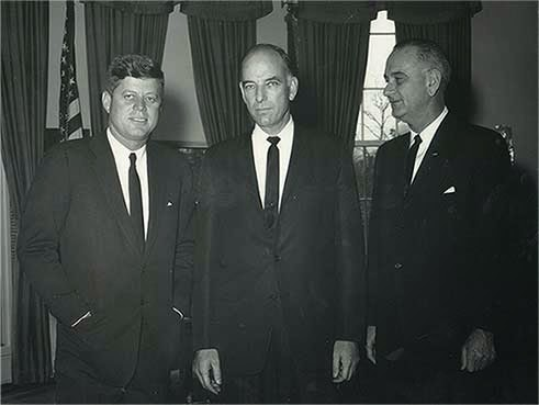 My father (center) with President Kennedy and Vice President Johnson when he was elected.