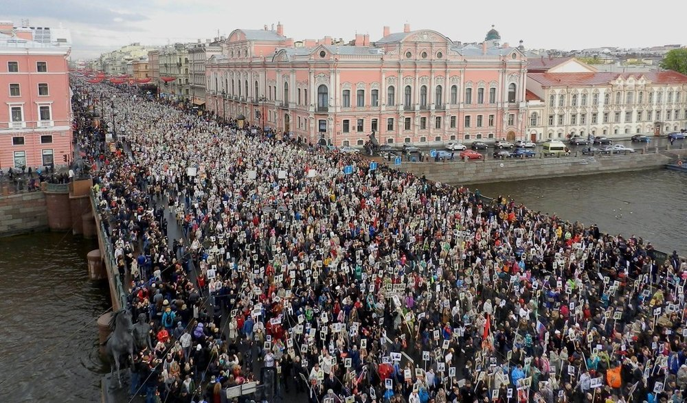 The so-called Immortal Regiment when thousands march in St. Petersburg and other cities of the world to remember their WWII relatives.