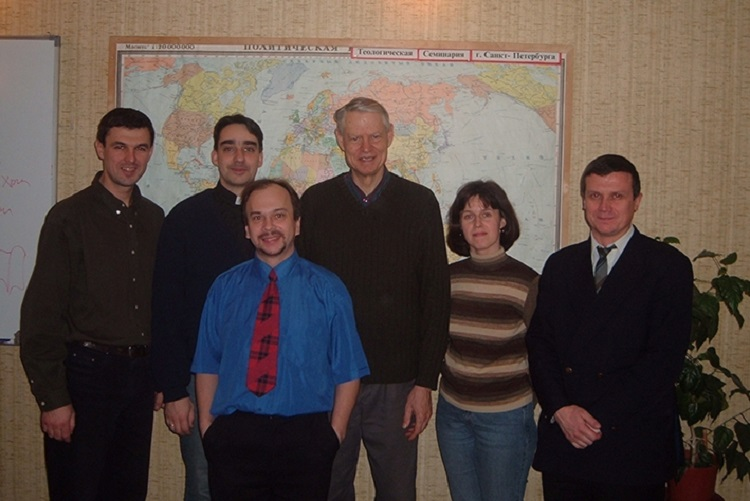 Seminary students and staff with Gary Vander Hart. December 2006.