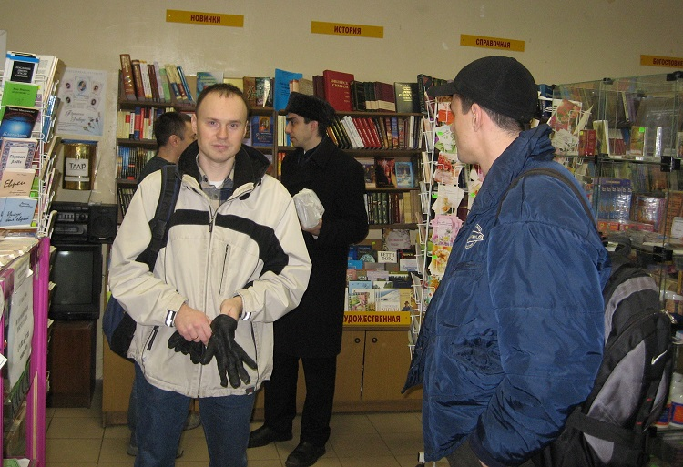 Seminary students in the Christian bookstore buying more books for seminary library.