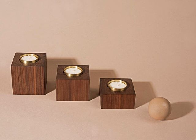 Our new tealight candle set, as featured in @flauntmagazine's Virgo Gift Guide Part 1. Photo by @jimjturner #madeinla #marmolradzinerhomegoods #walnutandbrass #flauntmagazine #modernhome