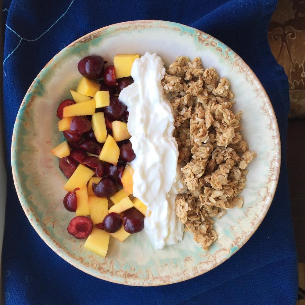 Anna's version of our family favorite granola with Greek yogurt, mango & cherries.