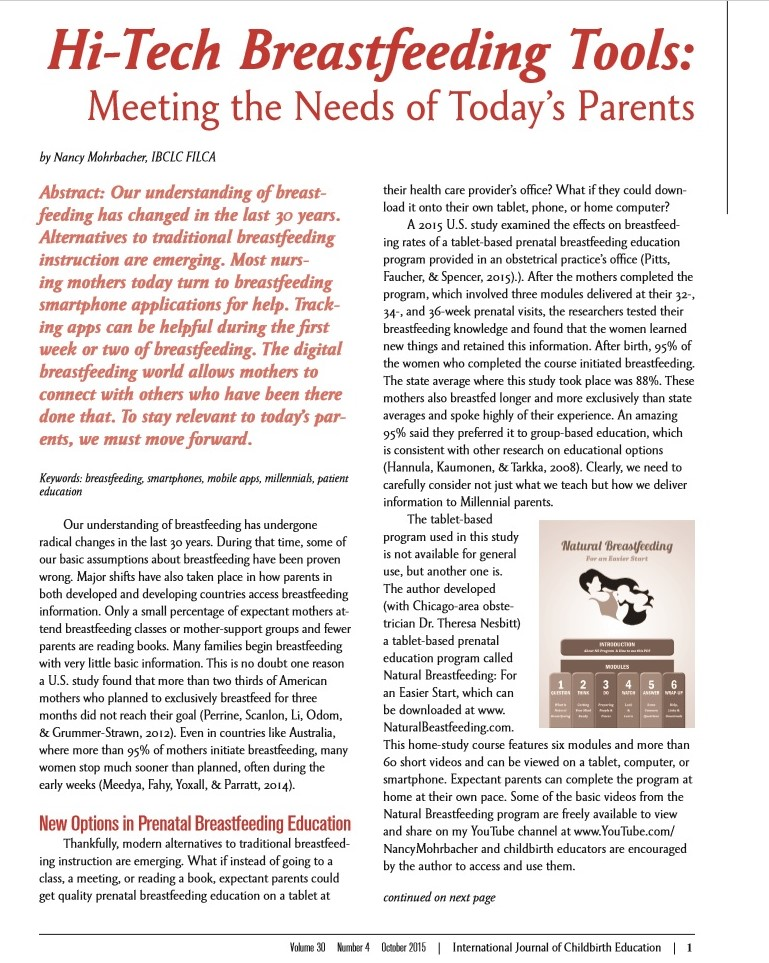 Breastfeeding Resources — Nancy Mohrbacher