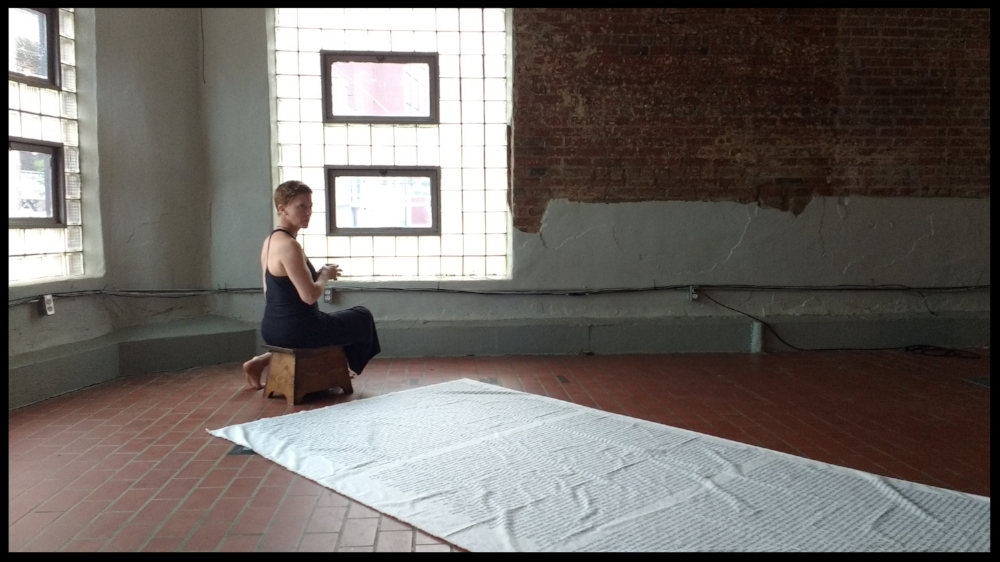 DUST. Footstool made by Zap's grandpa. Cloth/words by Judith Leemann. Music by Heather McIntosh. Photo by Cinthia Pérez Navarro. Performance Space: Wherehouse Art Hotel.