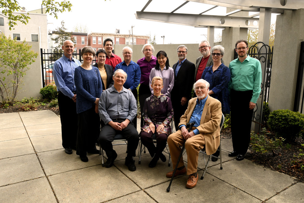 L to R back row: Paul R. Demers, Thomas Kraines, Charles Abramovic,  L to R 2nd row: Susan Nowicki, Jennifer Higdon, Edward Schultz, Hirono Oka, Jim Primosch, Maurice Wright, Melinda Wagner, Matthew Bengtson  Seated L-R: Jan Krzywicki, Linda Reichert and Richard Wernick