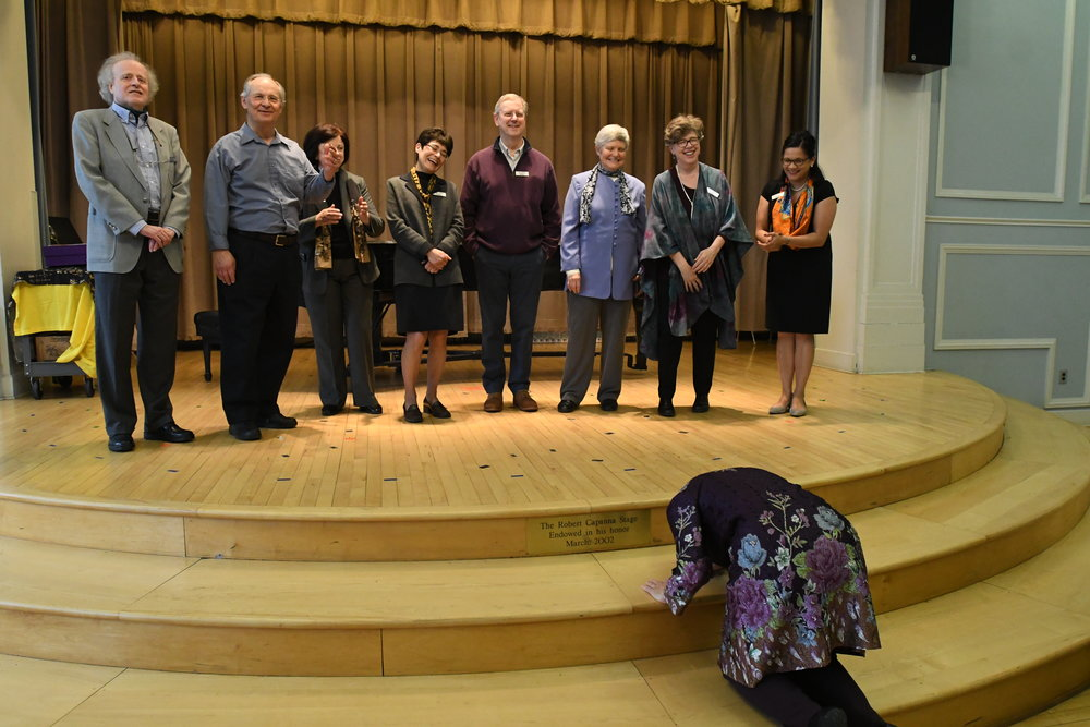 Linda thanks the Network Board of Directors (L to R): Richard Brodhead, Jan Krzywicki, Patricia Manley, Ingrid Arauco, David Webber, Nancy Drye, Melinda Whiting, Lourdes Starr-Demers