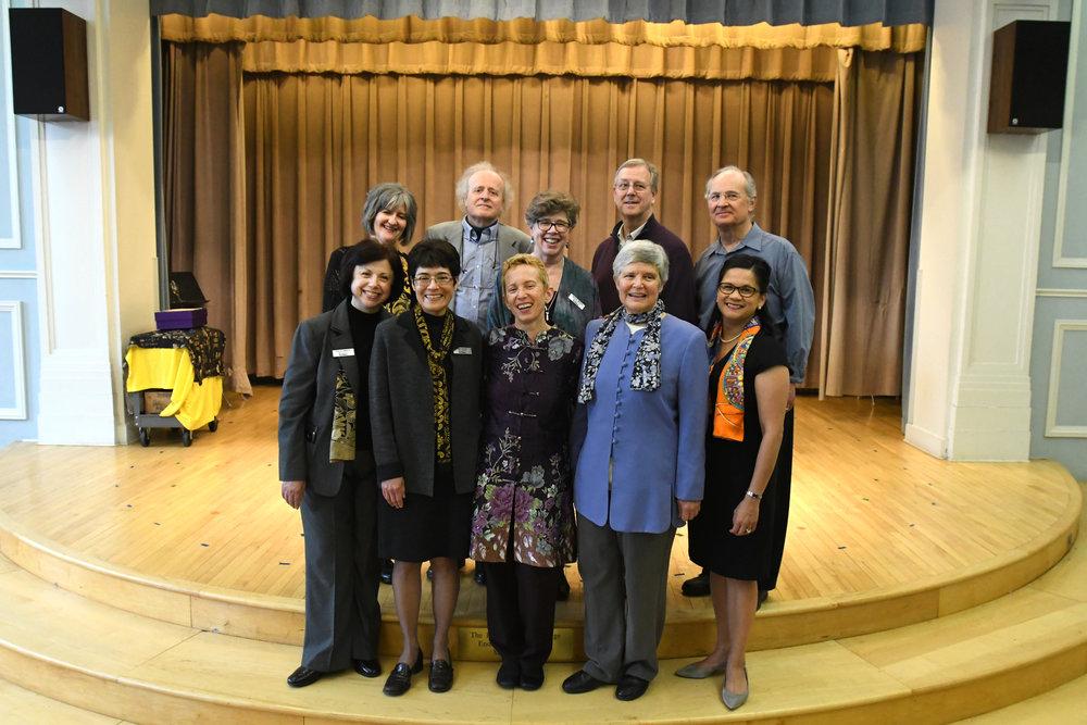 Back row (L to R): Karen DiSanto, Richard Brodhead, Melinda Whiting, David Webber, Jan Krzywicki  Front row (L to R): Patricia Manley, Ingrid Arauco, Linda Reichert, Nancy Drye, Lourdes Starr-Demers