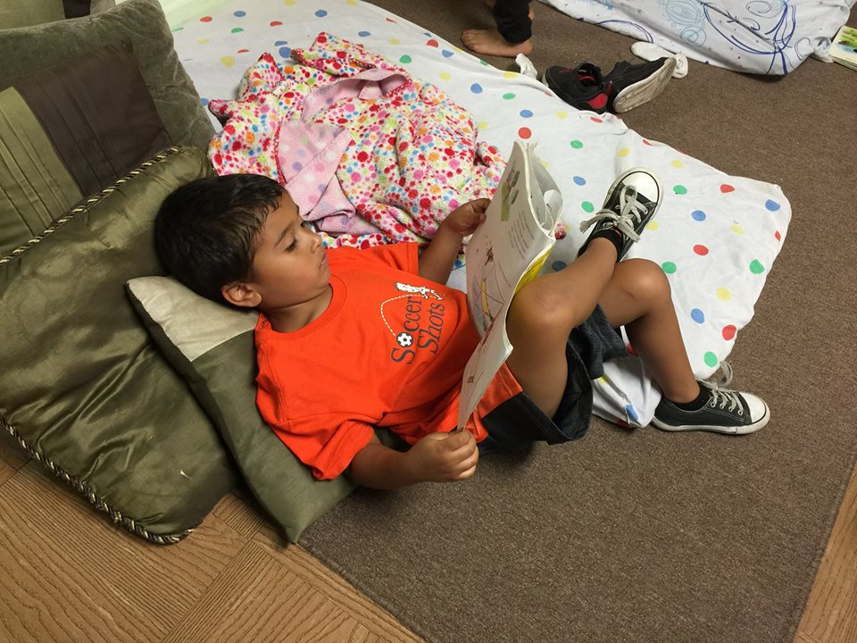 Relaxing in the reading center