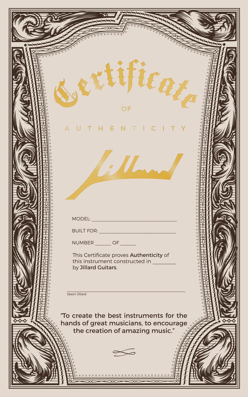 Jillard Certificate