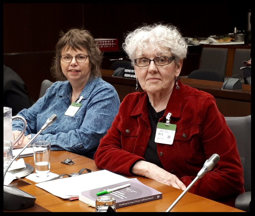 Linda MacDonald and Jeanne Sarson testifying about NST at the Canadian Standing Committee on Justice and Human Rights hearings on human trafficking May 22, 2018