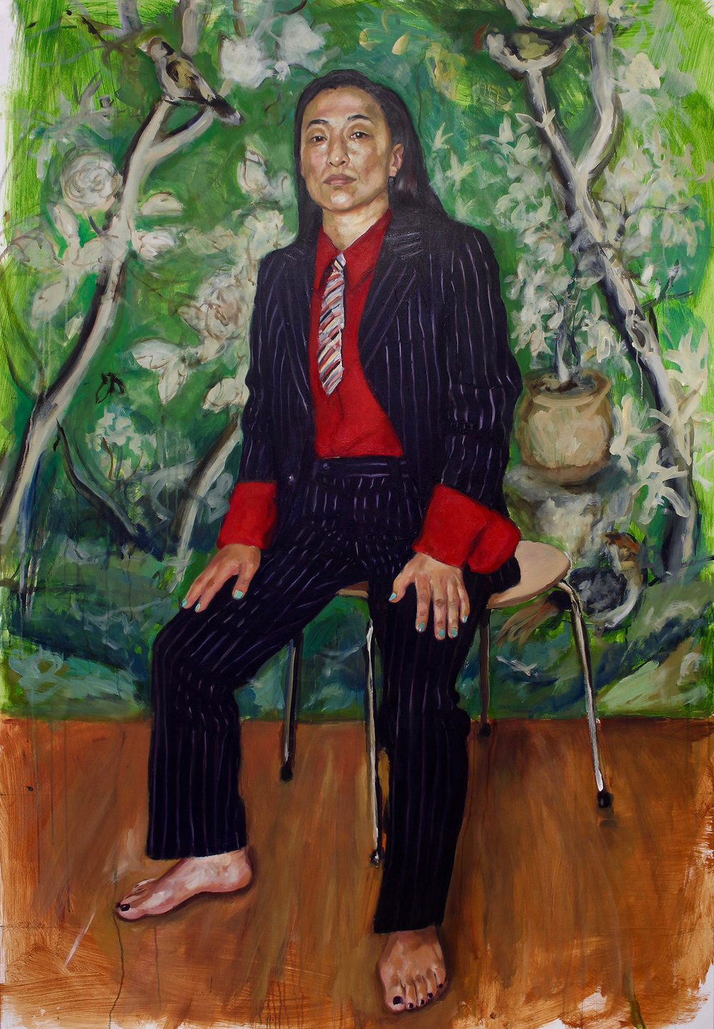 Caroline Wong - Little Boy's Suit (pictured) and Mixer. A portrait of burlesque performer Fancy Chance. This is the beginning of an ongoing series of life size portraits, subverting the stereotypes of East and Southeast Asian women. It's a way of meeting and connecting with women who similarly straddle Eastern and Western cultures and are forging their own identities in the face of this conflict; a way of getting their voices and stories heard, granting them visibility in a world where they are often expected to be silent and conforming; it's a therapeutic process, a form of self-portraiture conveying aspects of my character that have been suppressed over the years. In short, it's about the right for women to define themselves beyond the ideals of femininity imposed on them.Caroline Wong is an emerging London-based portrait artist. She has always been drawn to faces, what they reveal and conceal about a person and the mysterious and unique ways we connect with one another in our everyday lives. Not wanting to be tied down to a particular 'style' or medium, her aim is to create portraits that are bold and expressive, yet sensitively rendered. She is currently studying for the Portrait Diploma at the Art Academy and was a finalist in the Sir Trousdell Portrait Prize and the Holly Bush Emerging Woman Painter Prize this year.