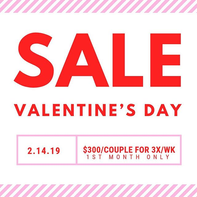 HAPPY VALENTINE's DAY!! 🥰  In honor of all of the love going on today, we thought we'd show all of you some!! Here's a 💓ONE DAY ONLY💓FLASH SALE💓 $300/couple for the first month!! Sign up TODAY! • • • • #valentinesdaygift #vday #valentine #valentinesday #couples #sale #flashsale #onedayonly #peakstrengthandconditioning #