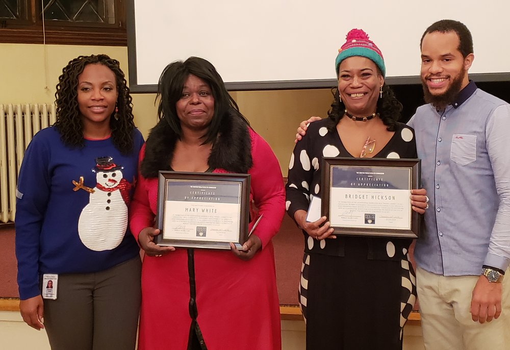December 20, 2018, the PALS's First Annual Holiday Dinner. The Injury Prevention, Oral Health, Asthma Control and Tobacco Control programs, Health Resources in Action, as well as the Mayor's Health Line donated 50 gifts to be distributed among the ten families in attendance. The PALs were also presented with certificates of appreciation from the Boston Public Health Commission for their leadership and advocacy.