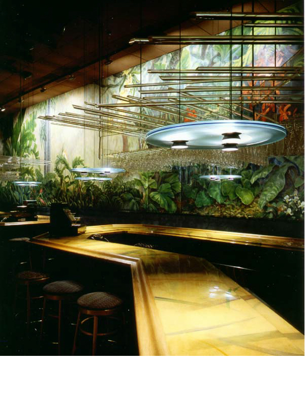 A thirty foot mural by Gabrielle Fiorentino, with orchids lit by projection lights, accentuate the color, when lights dim.