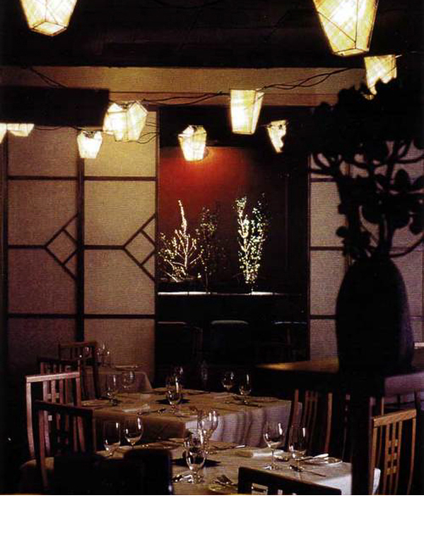 Iron shoji frames with rice paper on plexiglass flanked the entertainment room. Metal lantern frames are covered with banana leaf paper for candlelight ambience.