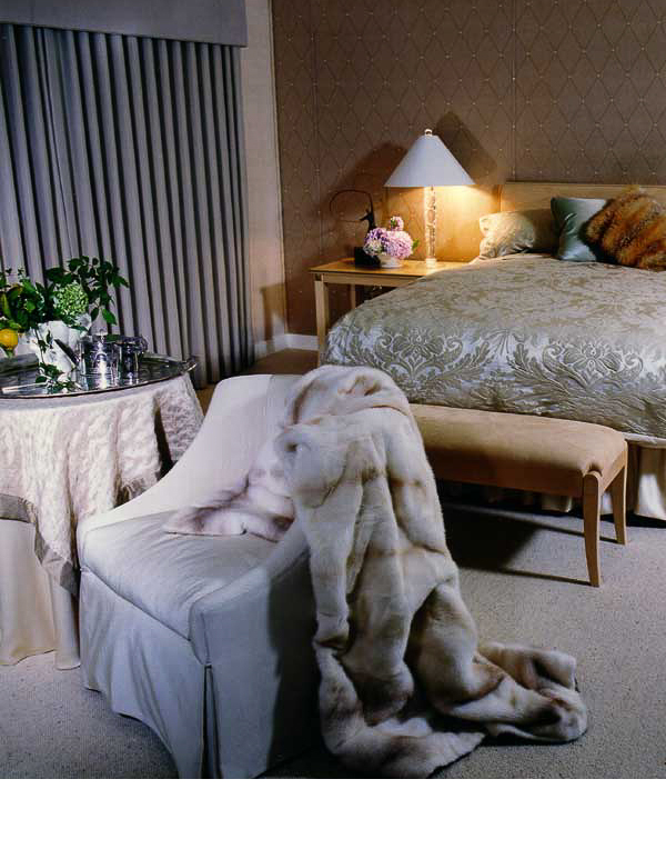Ms. Hatos loved to carry her fur throws around the house. From them, we designed the color scheme.