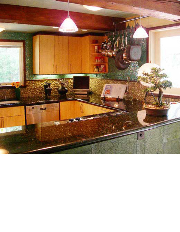 Bamboo cabinets complement the dark wood trim.