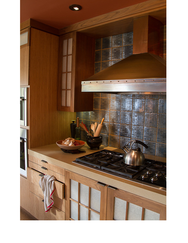 Shoji style cabinet doors installed with LED back lighting resulted in a dim subtle light effect, when all other lights in the kitchen were off.