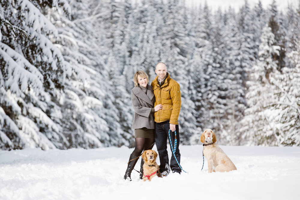 Got Puppies? So Happy, Bring Them Over like Amy + Clint did! Another Snowy Engagement in Snoqualmie, WA