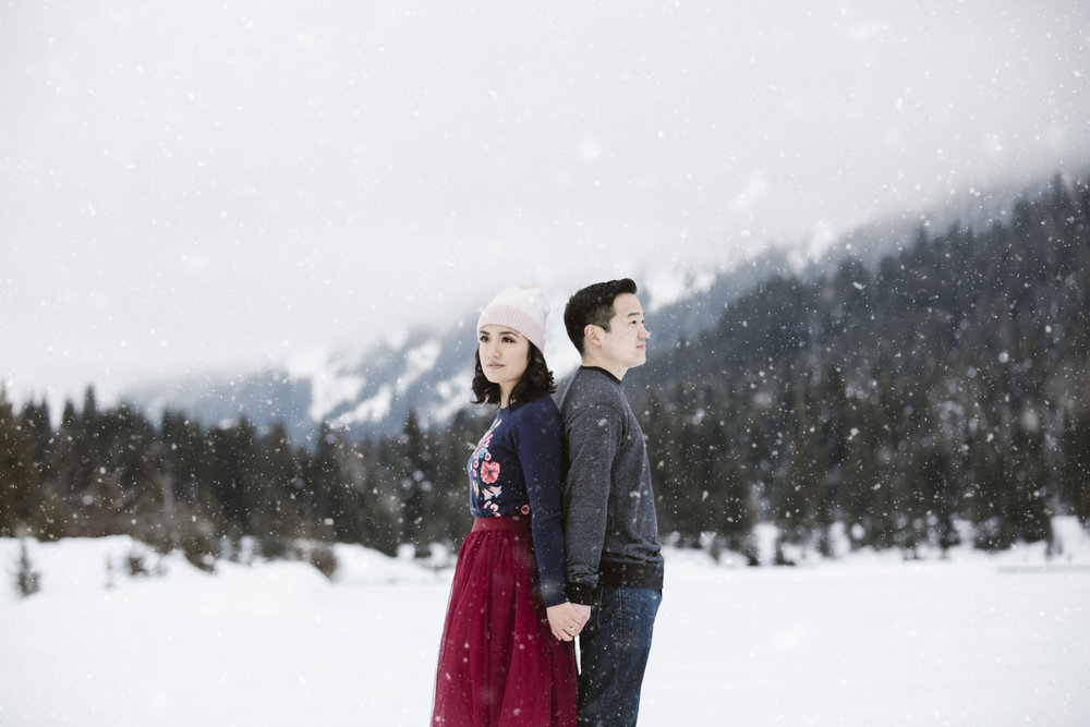 Snowy Engagement at Gold Creek Pond in Snoqualmie, WA // Sarah + Sean