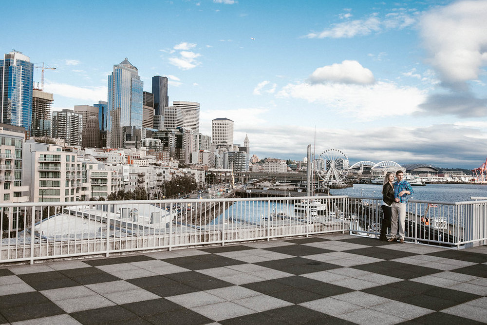Seattle Views? Sure... Pike Market, Seattle Waterfront and Pier 66 make amazing engagement locations // Tricia + Mark // Seattle, WA