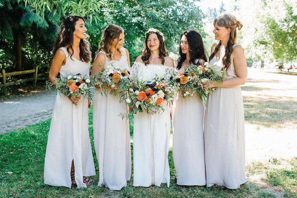carkeek park bridal party photos by seattle wedding photographer adina preston