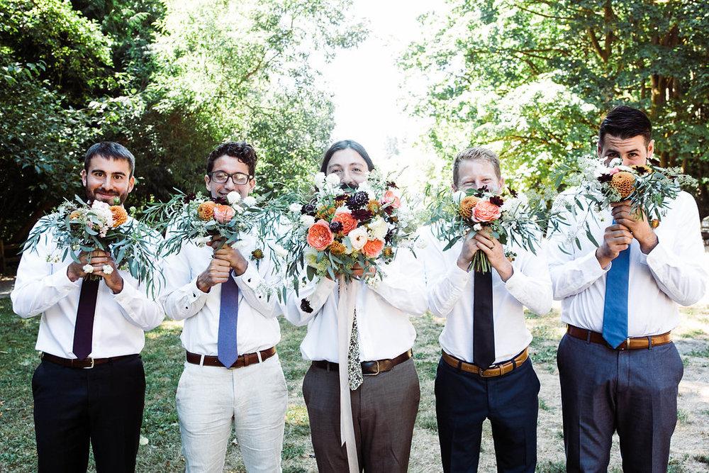 carkeek park groomsmen wedding photos by seattle wedding photographer adina preston
