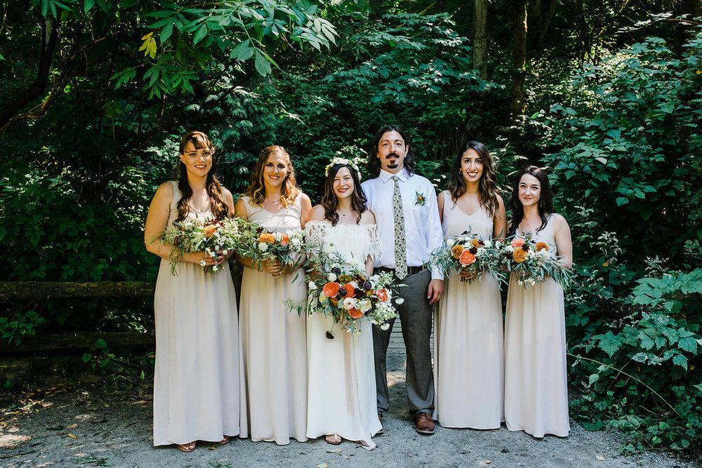 carkeek park bridal party wedding photos by seattle wedding photographer adina preston