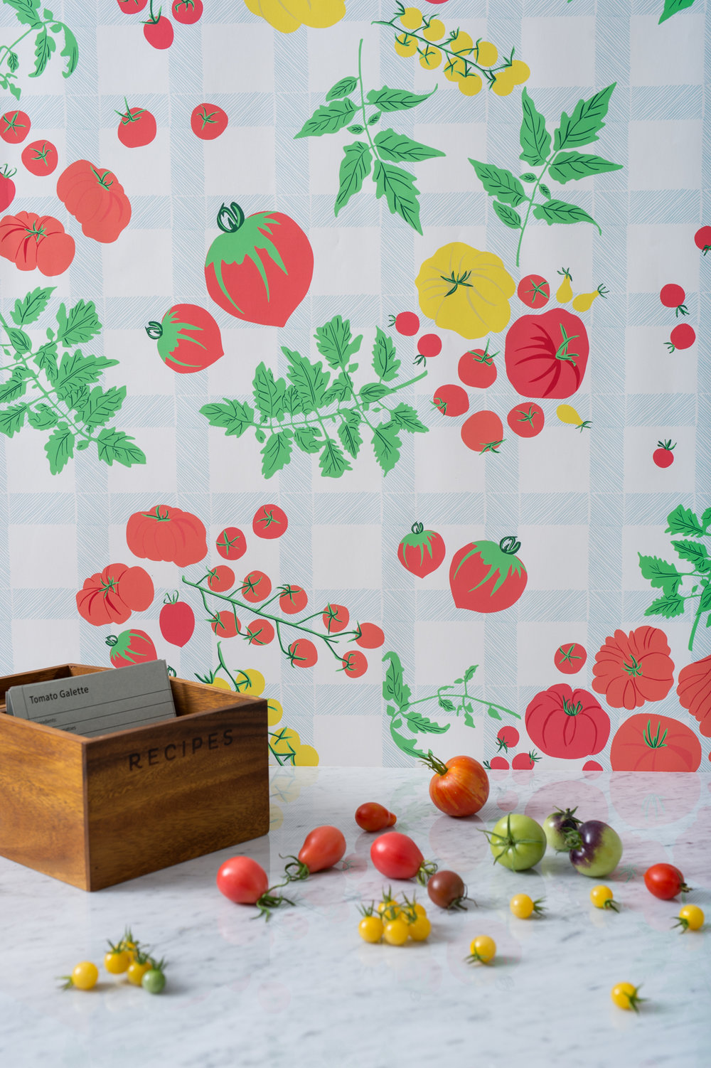Kate Golding Heirloom Tomato Harvest wallpaper // Modern wallcoverings and interior decor.