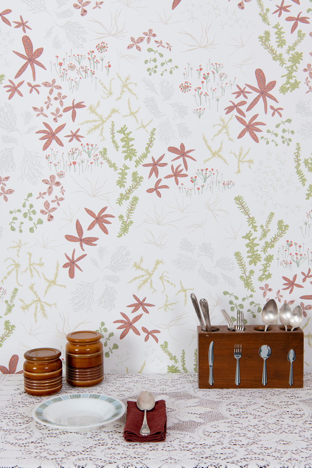 Kate Golding Bog (White) wallpaper // Modern wallcoverings and interior decor.