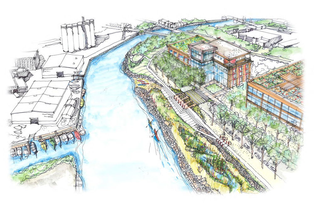 Conceptual rendering by SEH depicting a Riverwalk and other amenities along the KK River south of the former Solvay Coke & Gas site.